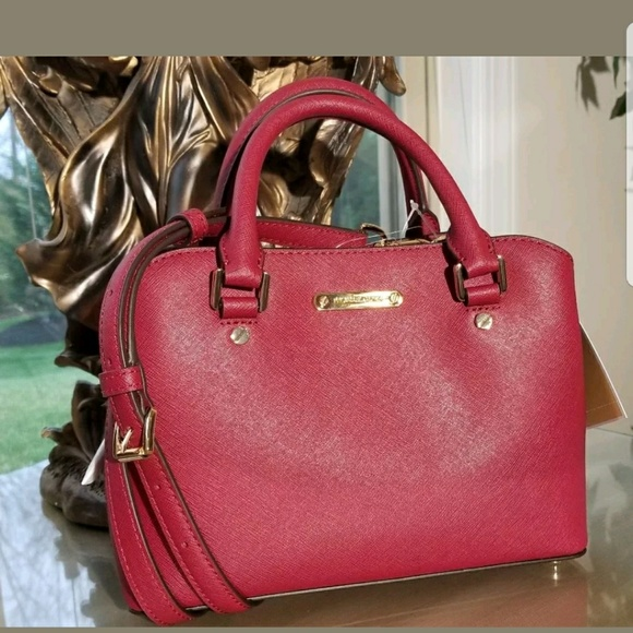 Savannah Large Saffiano Cherry Leather Satchel Bag